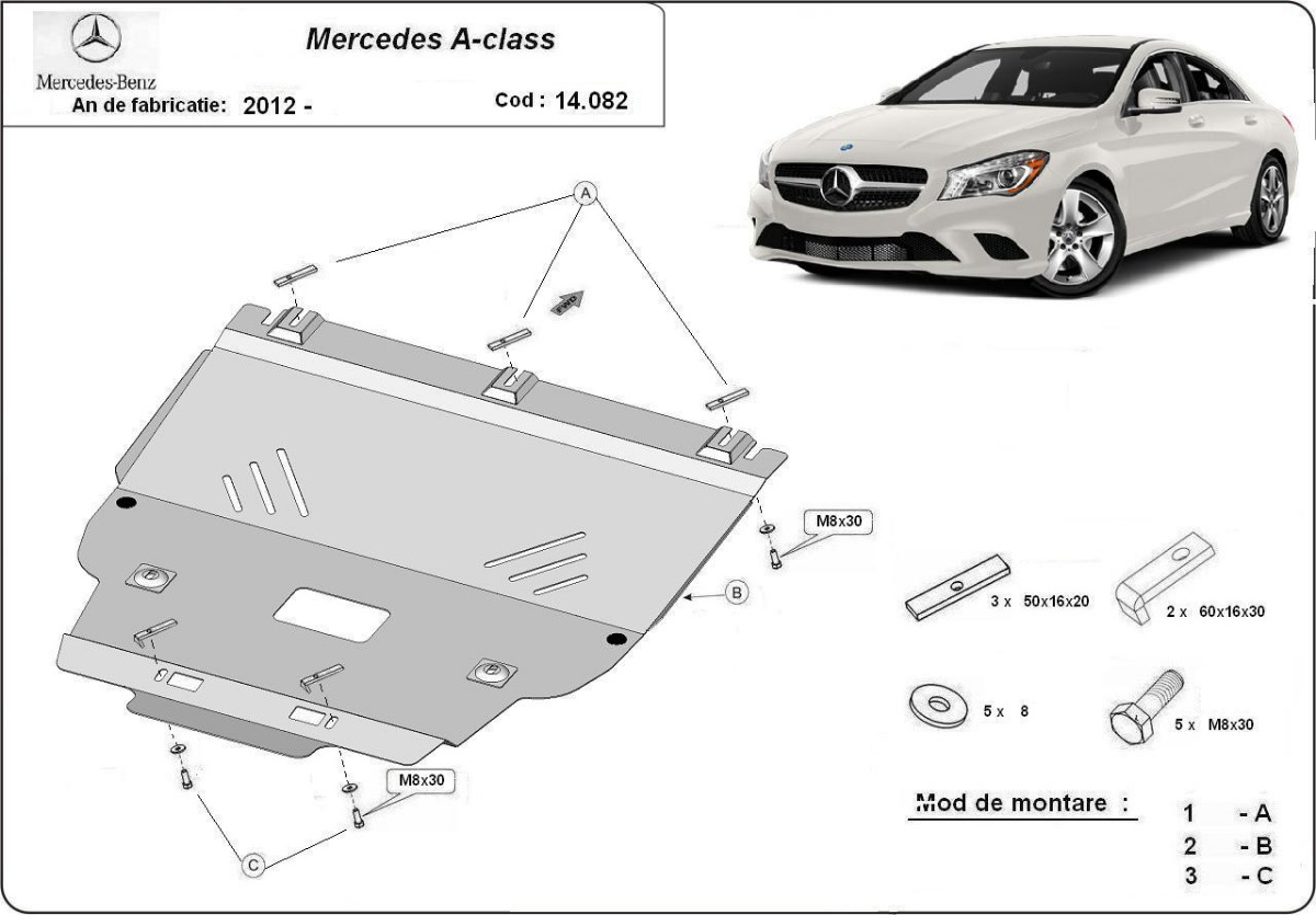 steel sump guard for mercedes a class w176. Black Bedroom Furniture Sets. Home Design Ideas