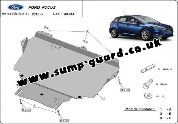 Steel sump guard for Ford Focus 3