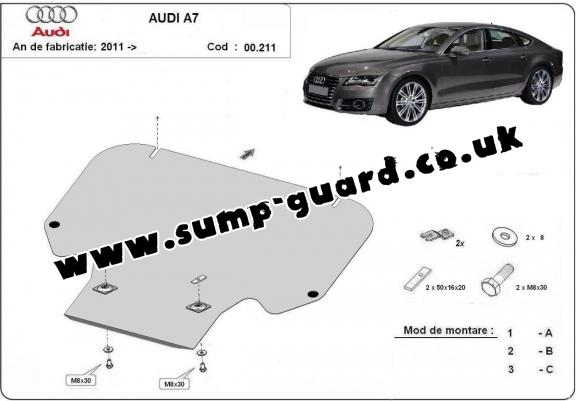 Steel gearbox guard for Audi A7