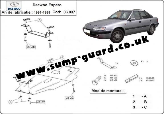 daewoo espero steel engine sump guard rh sump guard co uk Daewoo Espero Interior Daewoo Evanda