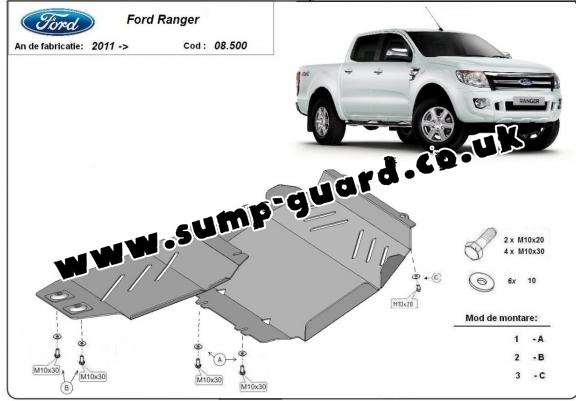 Steel sump guard for Ford Ranger