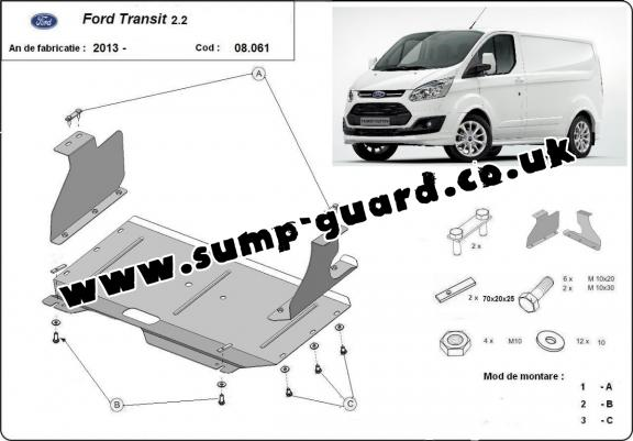 Steel sump guard for the protection of the engine and the gearbox for Ford Transit Custom