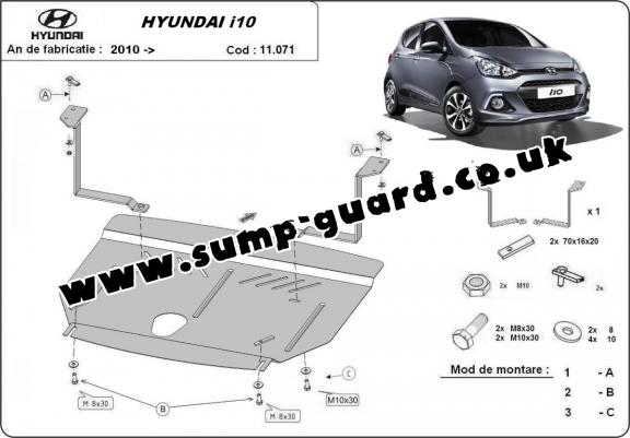 Steel sump guard for Hyundai i10