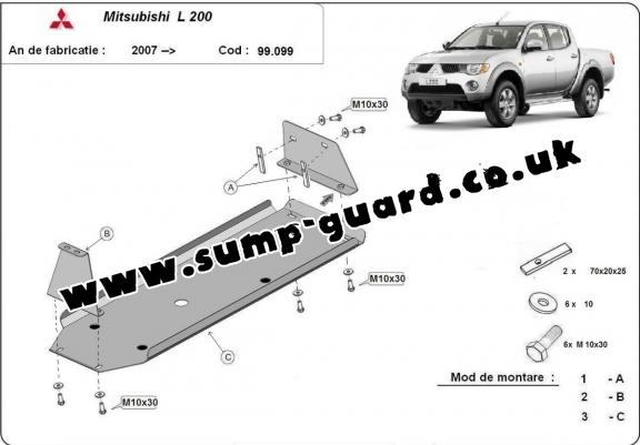 Steel fuel tank guard  for Mitsubishi L 200