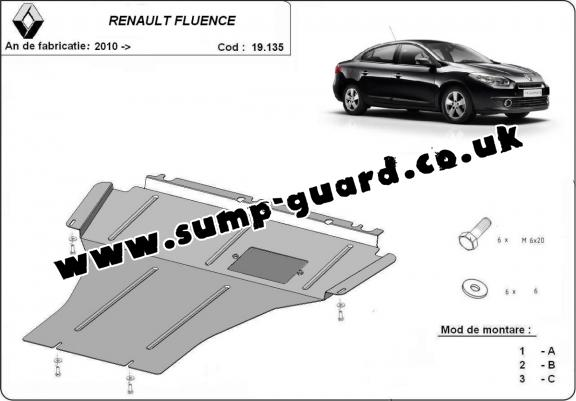 Steel sump guard for Renault Fluence