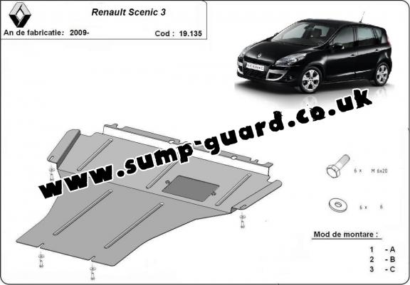 Steel sump guard for Renault Scenic 3