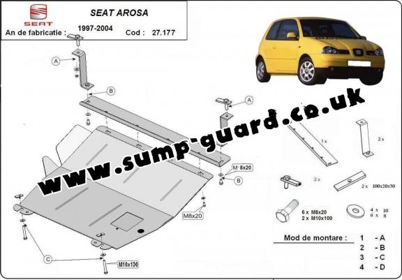 Steel sump guard for Seat Arosa