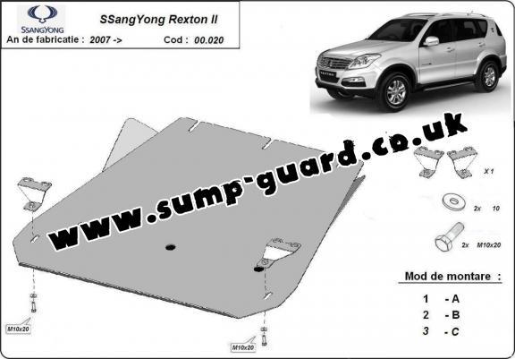 Steel gearbox guard for SsangYong Rexton 2