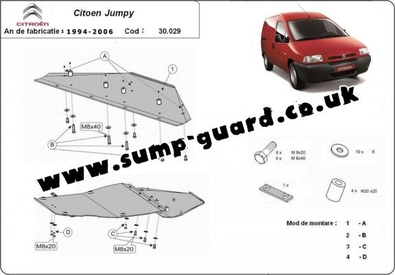 Steel sump guard for Citroen Jumpy