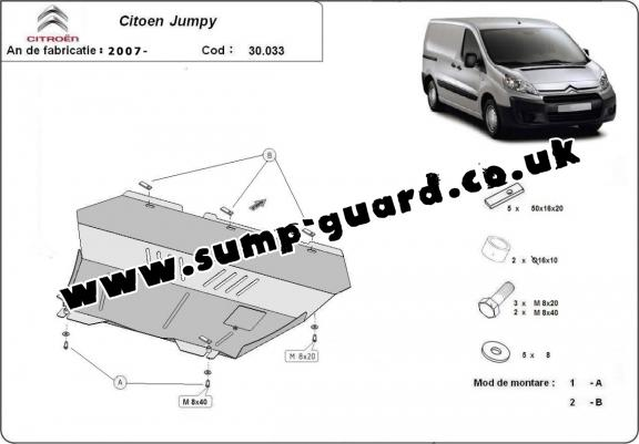 Steel sump guard for the protection of the engine and the gearbox for Citroen Jumpy