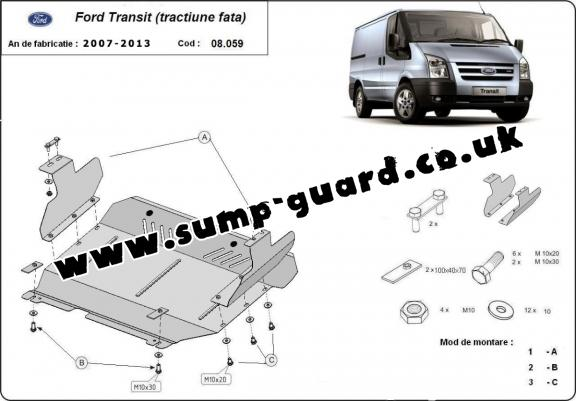 Steel sump guard for Ford Transit - FWD