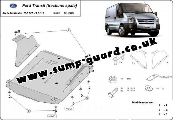 Steel sump guard for Ford Transit - RWD