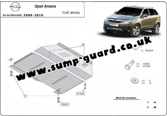 Steel sump guard for Vauxhall Antara
