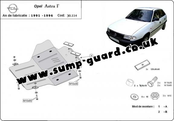 Steel sump guard for Vauxhall Astra F