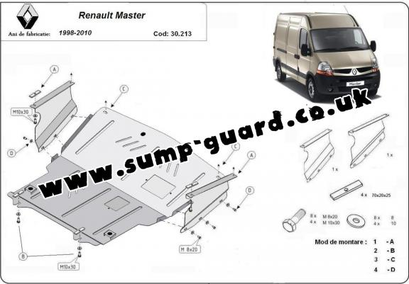 Steel sump guard for Renault Master 2