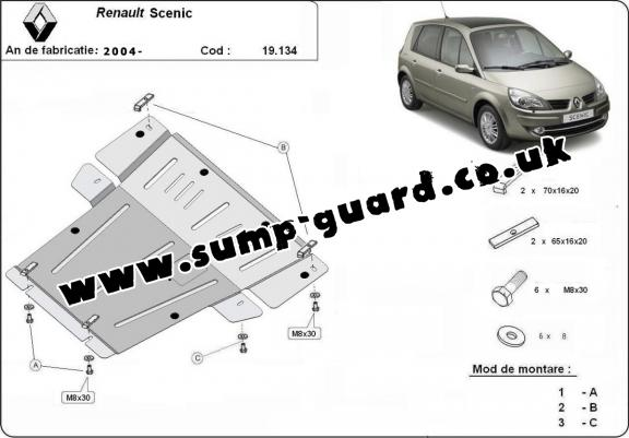 Steel sump guard for Renault Scenic