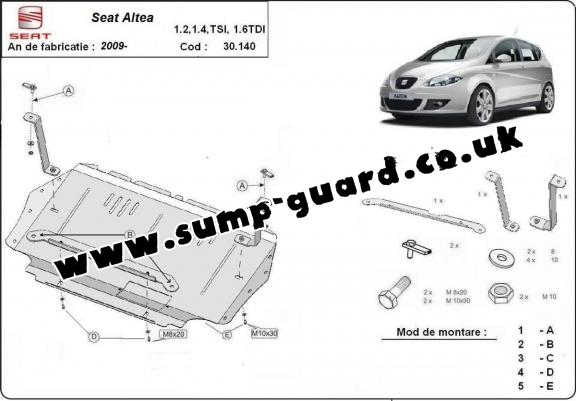 Steel sump guard for the protection of the engine and the gearbox for Seat Altea