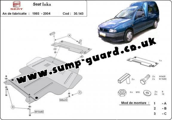 Steel sump guard for Seat Inca