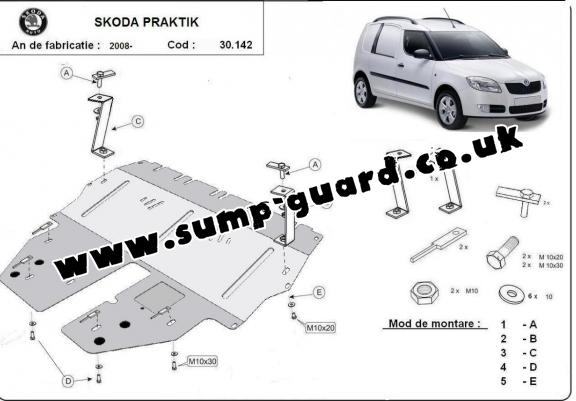 Steel sump guard for Skoda Praktik