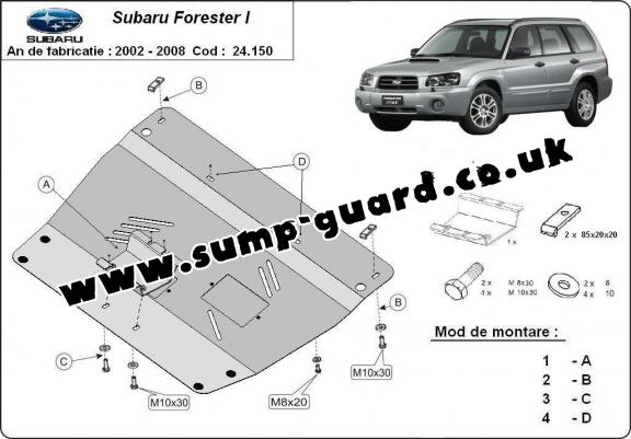 Steel sump guard for Subaru Forester 2