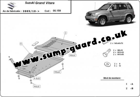 Steel gearbox and differential guard for Suzuki Grand Vitara XL7