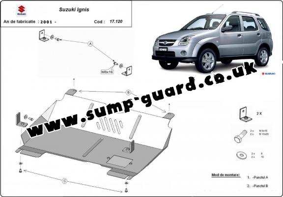 Steel sump guard for the protection of the engine and the gearbox for Suzuki Ignis