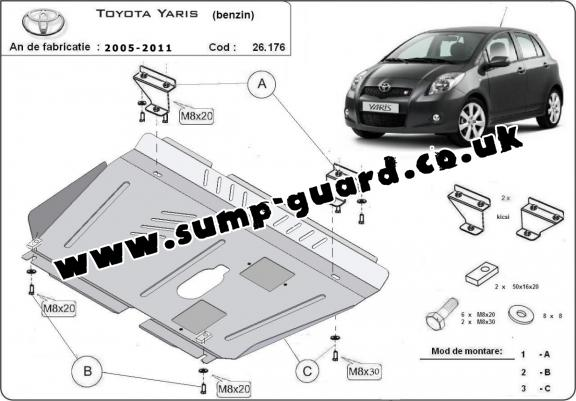 Steel sump guard for Toyota Yaris - petrol