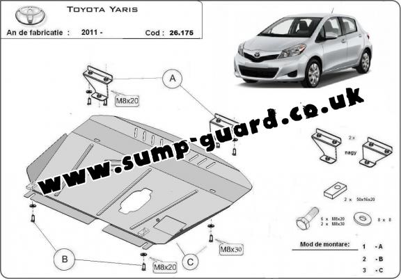 Steel sump guard for Toyota Yaris