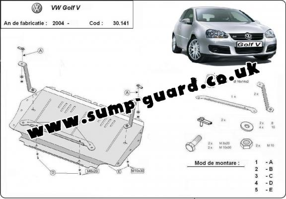 Steel sump guard for Vw golf mk5