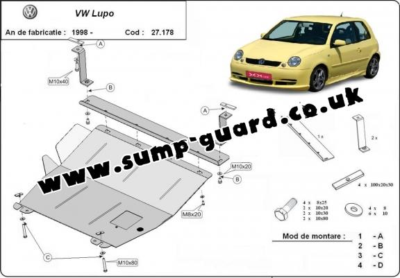 Steel sump guard for VW Lupo