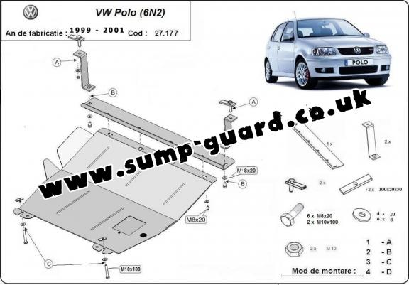 Steel sump guard for the protection of the engine and the gearbox for VW Polo 6n2