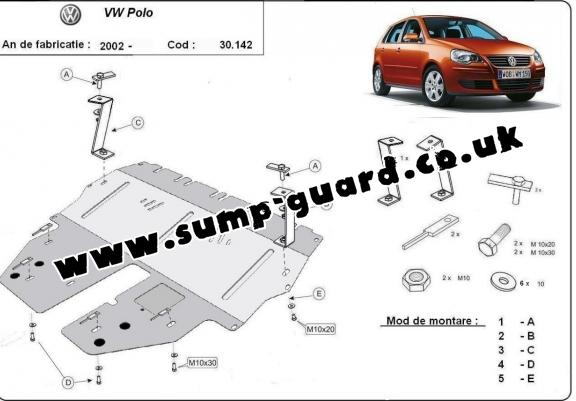 Steel sump guard for VW Polo