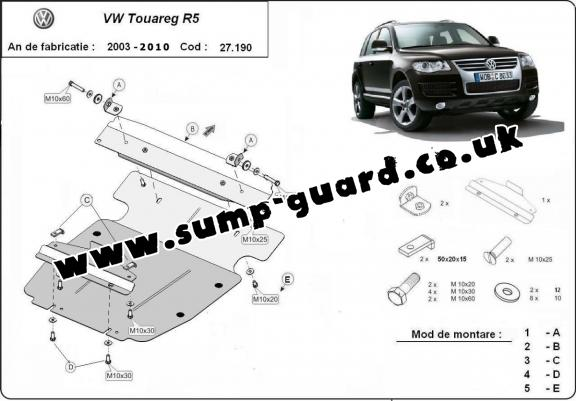 Steel sump guard for Volkswagen Touareg R5