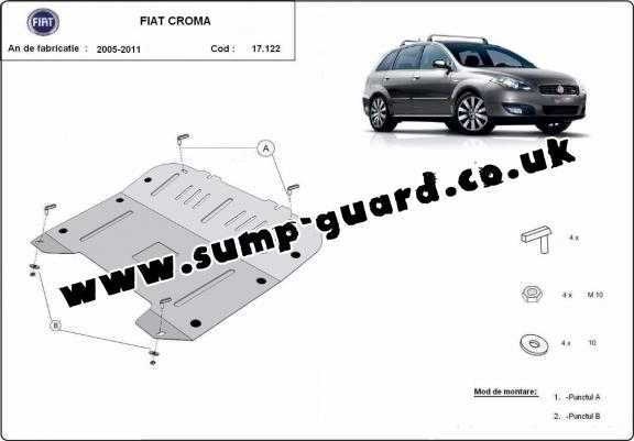 Steel sump guard for the protection of the engine and the gearbox for   Fiat Croma