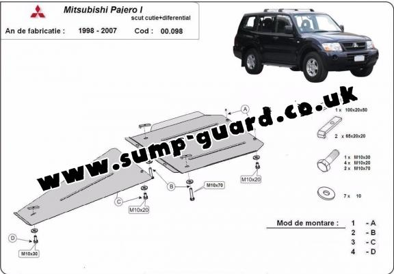 Steel gearbox and differential guard for Mitsubishi Shogun Sport 1