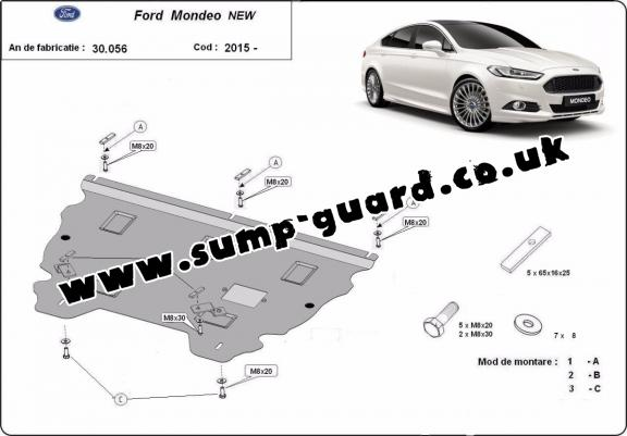 Steel sump guard for Ford Mondeo 5