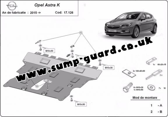 Steel sump guard for Vauxhall Astra K