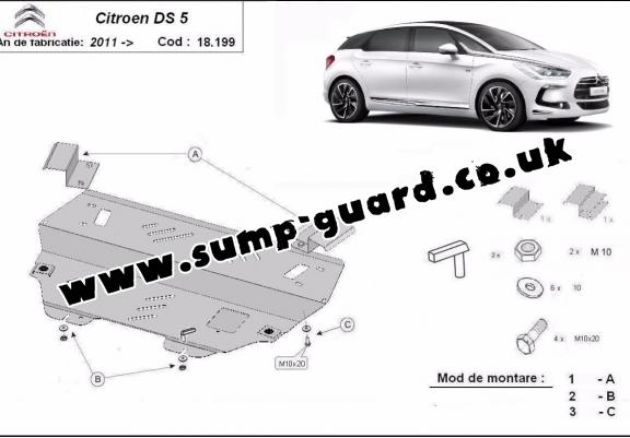 Steel sump guard for Citroen DS5
