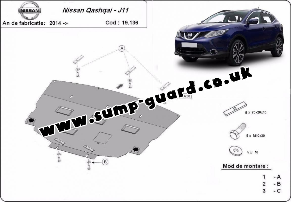 steel sump guard for nissan qashqai j11. Black Bedroom Furniture Sets. Home Design Ideas