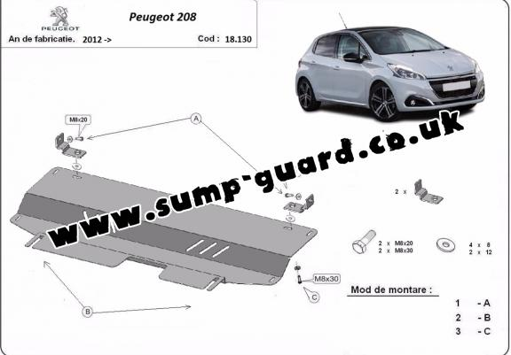 Steel sump guard for Peugeot 208