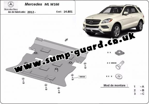 Steel sump guard for Mercedes ML W166