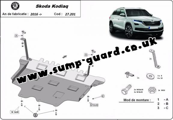 Steel sump guard for Skoda Kodiaq