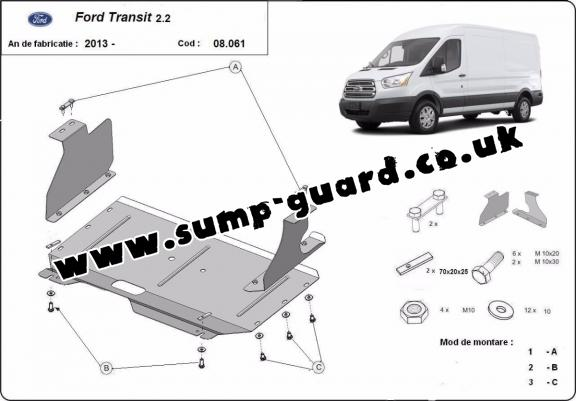 Steel sump guard for Ford Transit