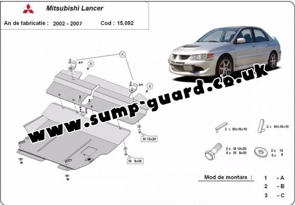 Steel sump guard for Mitsubishi Lancer