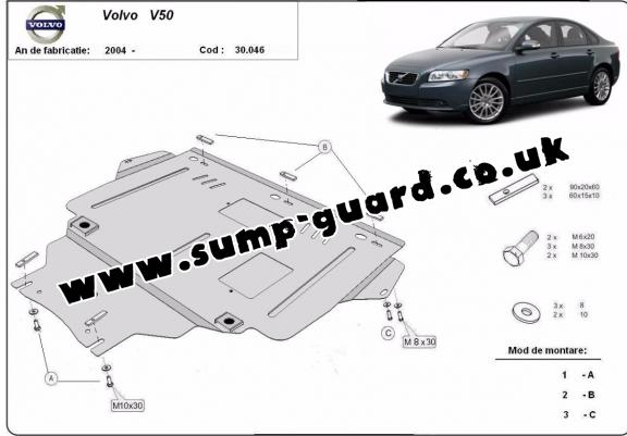 Steel sump guard for Volvo V50