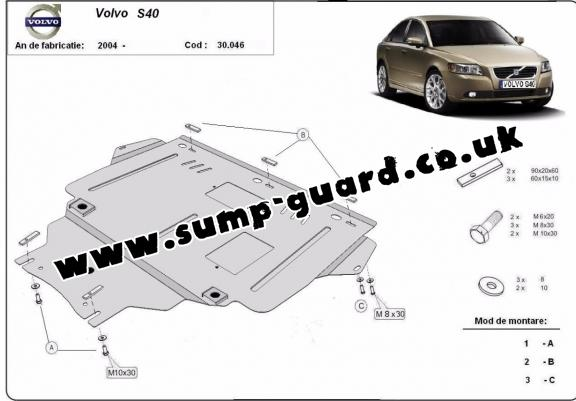 Steel sump guard for Volvo S40