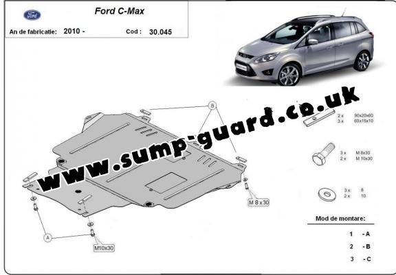 Steel sump guard for Ford C - Max