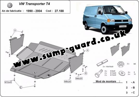 Steel sump guard for VW Transporter T4