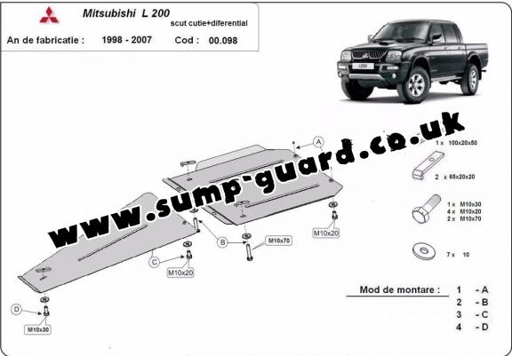 Steel gearbox and differential guard for Mitsubishi L 200