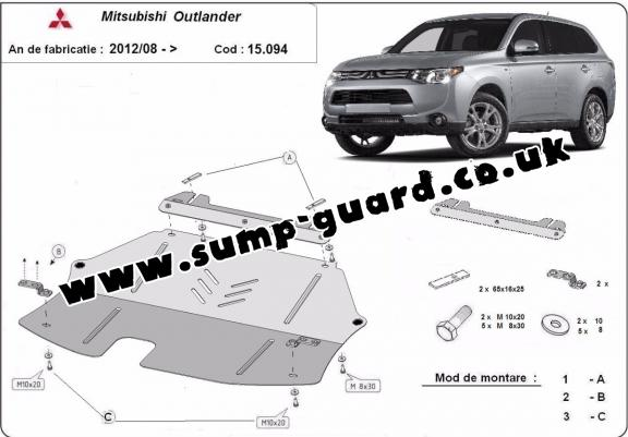 Steel sump guard for Mitsubishi Outlander